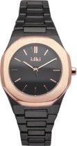 IKKI YORK YR05 Horloge - Zwart/Rosé Goud