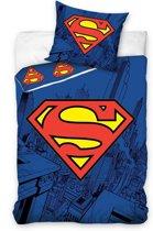 Superman Logo - Dekbedovertrek - Eenpersoons - 140x200 cm - Blauw