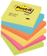 3M Post-it Post-it memoblok, 76x76mm, assorti, pak à 6 stuks