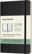 Moleskine agenda 2019 - 12 maanden - Wekelijks - Zwart - Pocket - Soft cover