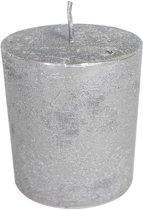 Zilverkleurige Stompkaars (10 x 7 cm)