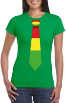 Groen t-shirt met Limburgse vlag stropdas voor dames L