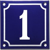 Emaille huisnummer blauw/wit nr. 1