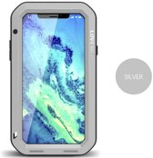 Metalen fullbody hoes voor Apple IPhone X en iPhone XS, Love Mei, metalen extreme protection case, zwart-grijs