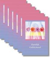 6x dubbele wenskaart met envelop - Gefeliciteerd - 11,5 x 17 cm