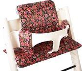 UKJE.NL Geplastificeerd Stokke TrippTrapp kussen stoelverkleiner kussenset - Zwart bloemetjes ♥
