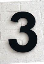 Huisnummer 3 Arial / 15 cm / mat zwart acrylaat 8 mm. Huisnummers met 5 jaar garantie.