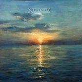 Schilderij - Zonsondergang (premium print op canvas)