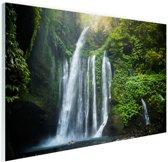 Waterval Lombok Indonesie Glas 120x80 cm - Foto print op Glas (Plexiglas wanddecoratie)