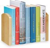 relaxdays boekensteun - bamboe - set van 2 - boekenstandaard - boekenhouder