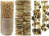 Kerstboomversiering slingers set 3x gouden Kerstslingers  - Kerstboom guirlandes - Gouden kerstboomversiering