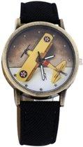 Fako Bijoux® - Horloge - Vliegtuig - Zwart