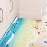 Zand 3D Sticker | Vloer | Driedimensionaal | Strand | Vloerstickers | Aarde | Zon | Vakantie | Natuur | Zee | Grond | Voetstappen | Water