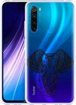 Xiaomi Redmi Note 8 Hoesje Elephant Mandala Black