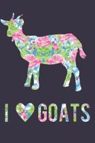 I Love Goats Floral Notebook Journal