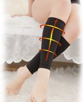Shapewear voor kuiten onderbeen wrap voor afslankend effect. Kuit compressie mouw. Maakt je kuiten dunner. Zwart. Maat S / M, 1 paar.