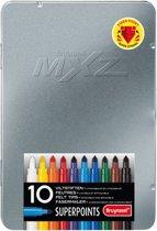 mXz blik 10 superpunt stiften Super Points stevige viltstiften met witte wis-stift