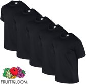 Fruit of the Loom T-shirt Valueweight, Zwart, Maat XXL ( 5 stuks onbedrukt)