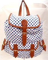 Borderline Vintage POLKA DOTS Canvas Rugzak Rugtas School Werk Tas
