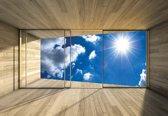 Fotobehang Window Sky Clouds Sun Nature | XXL - 312cm x 219cm | 130g/m2 Vlies