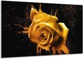 Glasschilderij Roos | Geel, Zwart | 120x70cm 1Luik | Foto print op Glas |  F003563