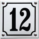 Emaille huisnummer wit/zwart nr. 12