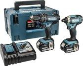 DLX2131JX 18V accu klopboormachine DHP482 + slagschroevendraaier DTD152 combiset (2x 3.0Ah accu) in Mbox