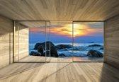 Fotobehang Window Beach Rocks Sea Sunset Sun | XXL - 312cm x 219cm | 130g/m2 Vlies