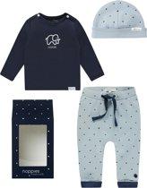 Noppies Set(3delig) Blauw Broekje, Shirt met konijn en Mutsje - Maat 50