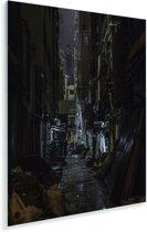 Donkere steeg in het Chinese Hong Kong Plexiglas 80x120 cm - Foto print op Glas (Plexiglas wanddecoratie)