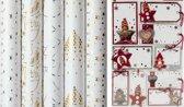 White Christmas luxe kerstpapier inpakpapier cadeaupapier - 150 x 70 cm - 5 rollen - Inclusief naamlabels
