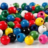 Houten kralen mix, d: 8 mm, kleuren assorti, 200 gr, circa 1200
