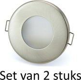 3W GU10 badkamer inbouwspot Zilver mat rond |Koel wit |Set van 2 stuks