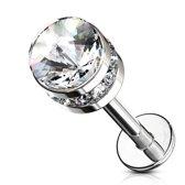 Piercing cylinder crystal gemmed steentjes wit ©LMPiercings