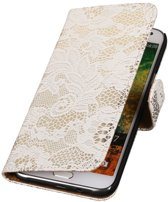 Wicked Narwal | Lace bookstyle / book case/ wallet case Hoes voor Samsung Galaxy E7 Wit