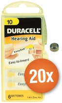 Voordeelpak Duracell gehoorapparaat batterijen - Type 10 (geel) - 20 x 6 stuks