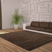 Hoogpolig shaggy vloerkleed 160x230cm bruin - 5 cm poolhoogte