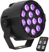 LED spot RGB - Multikleur 12 x 3W met afstandsbediening