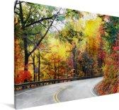 De Blue Ridge Parkway in North Carolina tijdens de herfst Canvas 180x120 cm - Foto print op Canvas schilderij (Wanddecoratie woonkamer / slaapkamer) XXL / Groot formaat!