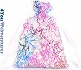50x Witte Tulle Organza zakjes 10 x 15 cm koraalmotief met trekkoordje. Snoepzakjes – cadeauzakjes – trouwerij – trouwfeest – babyshower – Tule - Koraal