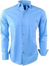 Ferlucci - Heren Overhemd - Napoli - Stretch - Blauw