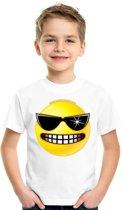 Smiley/ emoticon t-shirt stoer wit kinderen M (134-140)