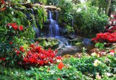 Fotobehang Waterfall Forest Nature   XL - 208cm x 146cm   130g/m2 Vlies