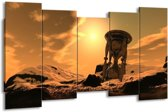 Canvas schilderij Abstract | Geel, Bruin, Goud | 150x80cm 5Luik