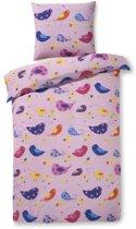 Zzzacht Vogeltjes - dekbedovertrek - eenpersoons - 140 x 200 - Roze
