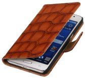 Samsung Galaxy Grand Prime Hoesje Glans Krokodil Bookstyle Bruin