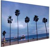 Manhattan beach zeezicht Aluminium 120x80 cm - Foto print op Aluminium (metaal wanddecoratie)