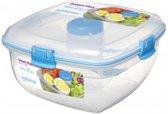 Sistema To Go Salad Max - Saladebox met verdeelschaal, bestek en dressingpotje - 1,63L blauw