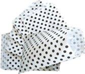 Papieren zakjes 10x16 cm wit met zwarte stip 50 stuks / cadeauzakjes
