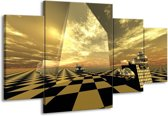Canvas schilderij Abstract | Bruin, Zwart | 160x90cm 4Luik